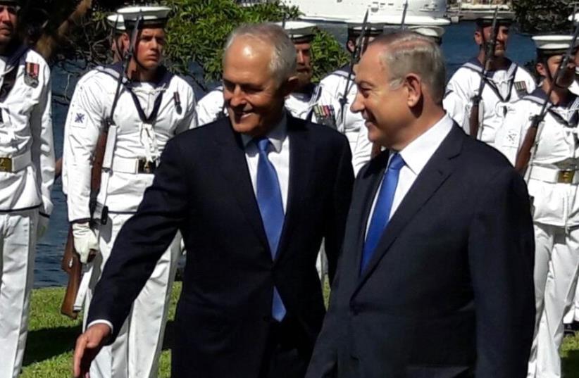 Prime Minister Benjamin Netanyahu (R) and Australian Prime Minister Malcolm Turnbull  (photo credit: HERB KEINON)