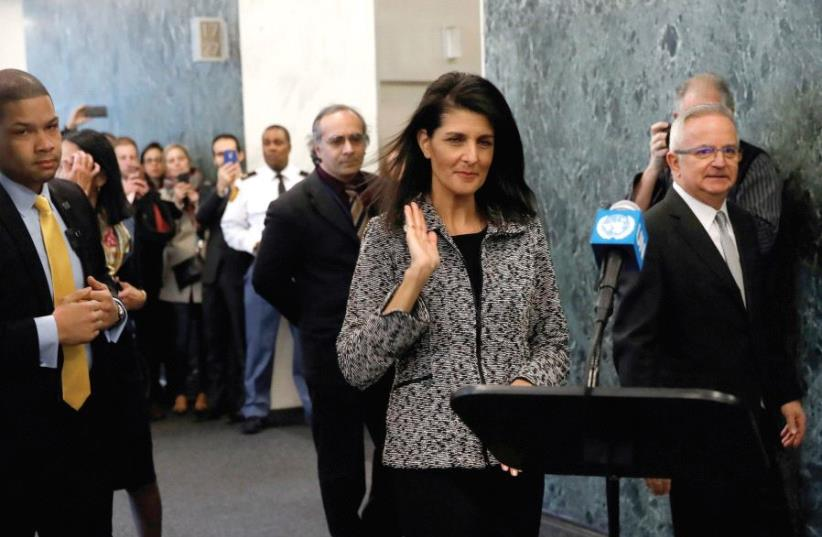 Newly appointed US Ambassador to the United Nations Nikki Haley makes a statement upon her arrival at UN headquarters in New York City (photo credit: REUTERS)
