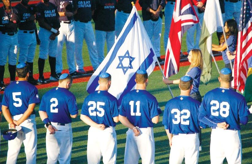 Team Israel stands to the sounds of 'Hatikva' before the WBC Qualifier Championship in September (photo credit: JOSH SOLOMON)