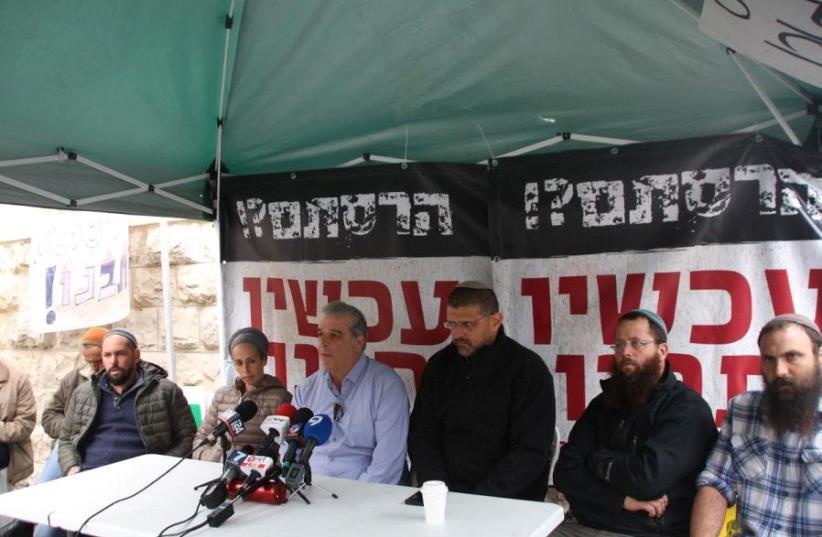 Settlers start hunger strike to push Netanyahu to build new settlement (photo credit: TOVAH LAZAROFF)