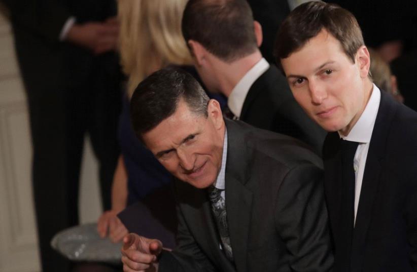 White House Senior Advisor Jared Kushner and former National Security Advisor Michael Flynn. (photo credit: REUTERS)