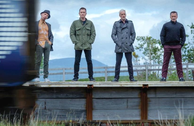 ALL ABOARD: From left; Ewen Bremner, Ewan McGregor, Jonny Lee Miller and Robert Carlyle in 'T2: Trainspotting' (photo credit: SONY PICTURES)