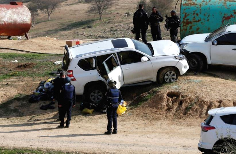 THE CAR DRIVEN by Beduin teacher Yacoub Abu al-Kaeean is seen where it ran into policemen during the fatal January 18 demolition operation in the Negev village of Umm al-Hiran. (photo credit: REUTERS)