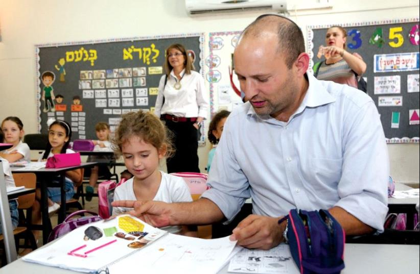 Education Minister Naftali Bennett has pushed for smaller class sizes with more opportunities for one-on-one instruction (photo credit: SASSON TIRAM)