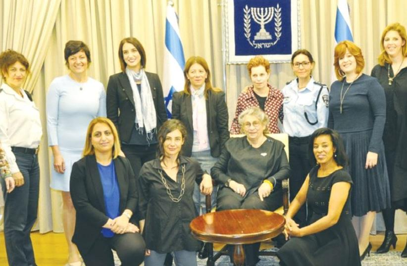 FIRST LADY Nechama Rivlin (center, seated) invited women from varying backgrounds and fields to share their success stories during a gathering at the President's Residence. (photo credit: TAMAR REICHMAN)