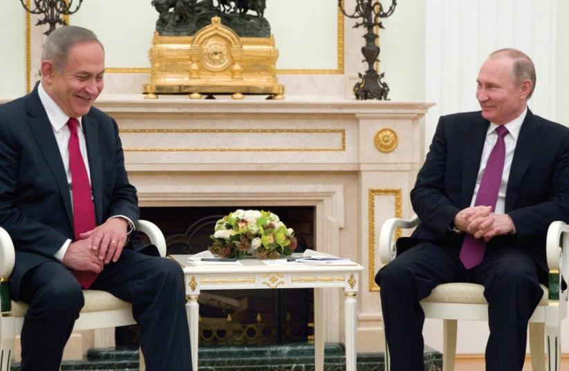 Benjamin Netanyahu and Vladimir Putin discuss Iranian involvement in Syria (photo credit: REUTERS)