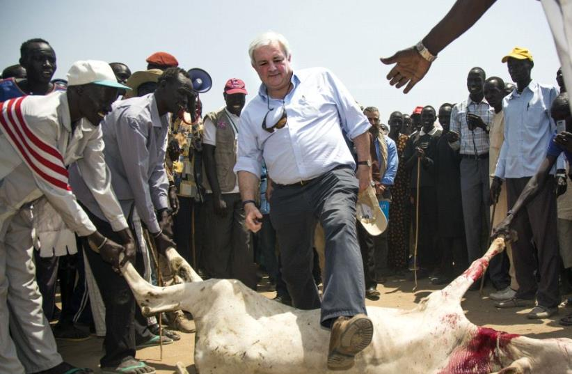 UN Under-Secretary General for Humanitarian Affairs and Emergency Relief Coordinator, Stephen O'Brien (C) jumps over a slaughtered cow as part of a traditional welcome ceremony in South Sudan. (photo credit: ALBERT GONZALEZ FARRAN / AFP)