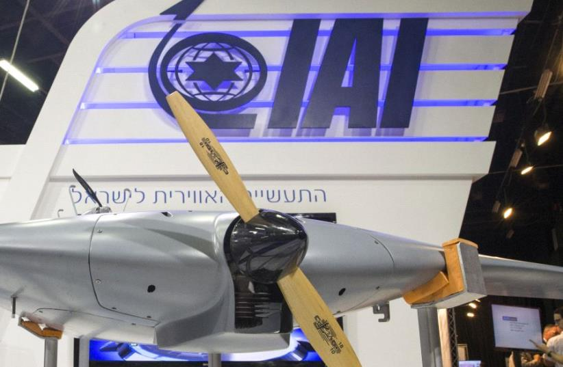 "A ""Bird Eye-650"" Long Endurance mini-UAV system developed by Israel Aerospace Industries (IAI) is displayed at the Unmanned Vehicles Conference 2015 on November 9, 2015, in the Israeli coastal city of Tel Aviv (photo credit: JACK GUEZ / AFP)"