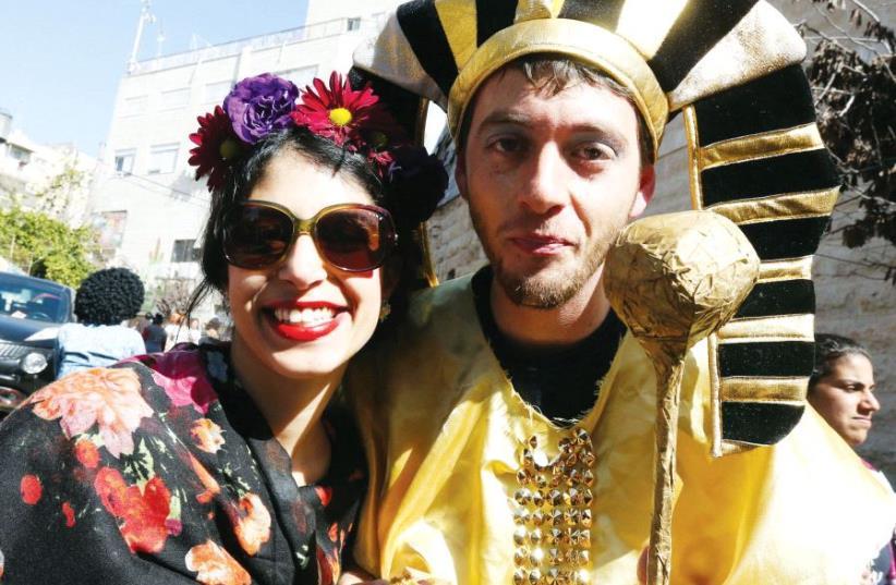 Purim celebrants in Jerusalem (photo credit: MARC ISRAEL SELLEM)