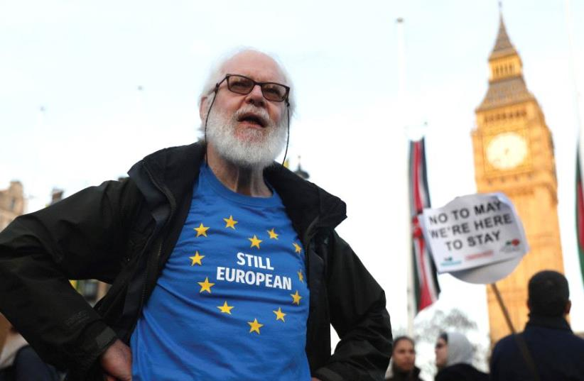 NOT FOR much longer. A man protests against Brexit in London. (photo credit: REUTERS)