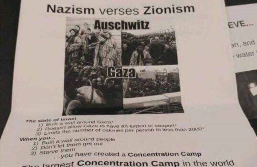 Poster comparing Zionism to Nazism found on the UIC campus. (photo credit: EVA ZELTSER)