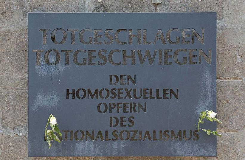 Memorial plaque at Sachsenhausen Concentration Camp (photo credit: WYRDLIGHT.COM/WIKIPEDIA)
