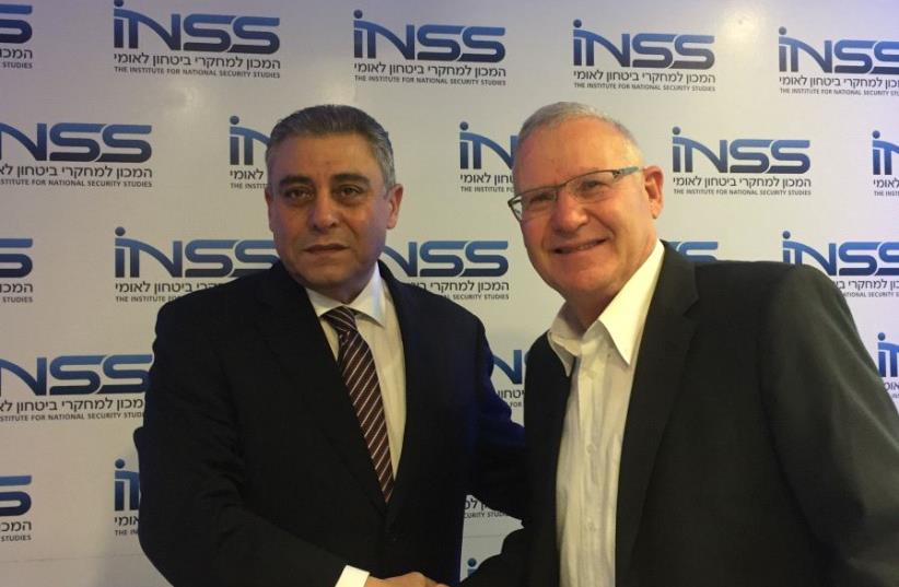 Egyptian Ambassordor Hazem Khairat With INSS' Amos Yadlin (photo credit: ANNA AHRONHEIM)