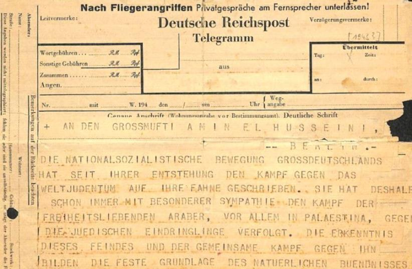 The telegram written by Himmler and sent to Jerusalem Mufti Haj Amin al-Husseini. (photo credit: NATIONAL LIBRARY OF ISRAEL)