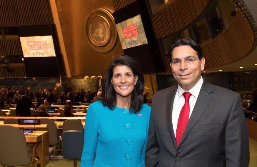 Ambassador Danny Danon and Ambassador Nikki Haley entering the UN General Assembly Hall (photo credit: SHAHAR AZRAN)