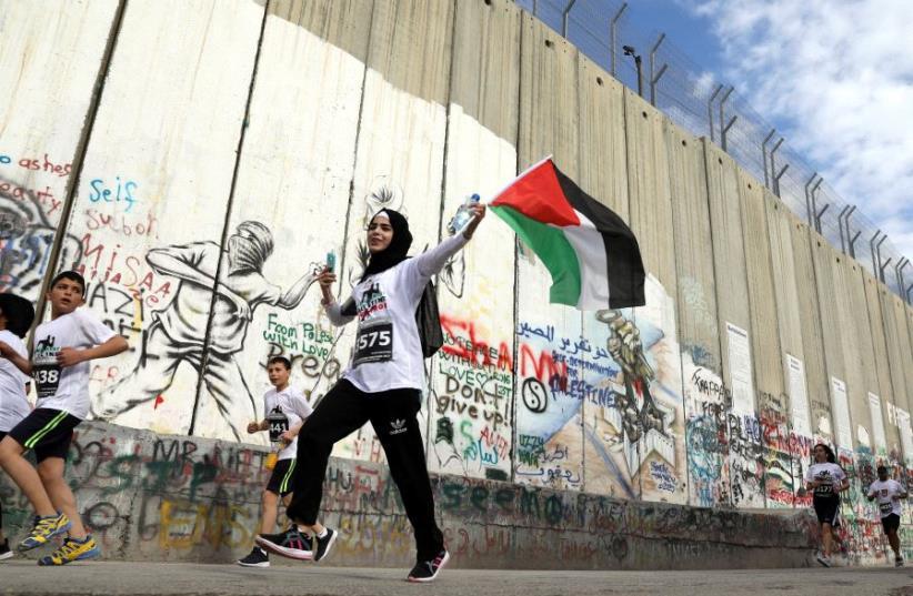 Participants in the Bethlehem marathon (photo credit: REUTERS)