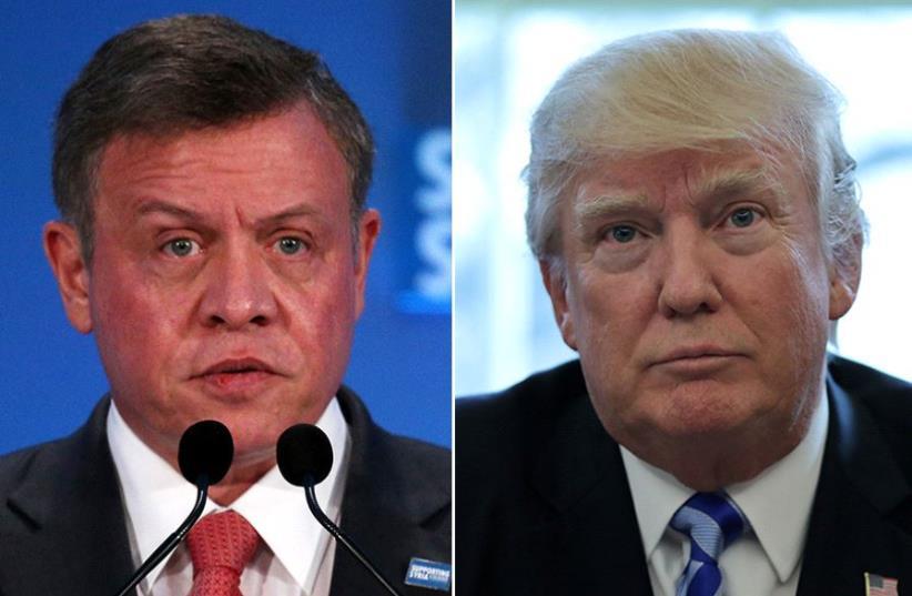 Trump and Abdullah (photo credit: REUTERS)