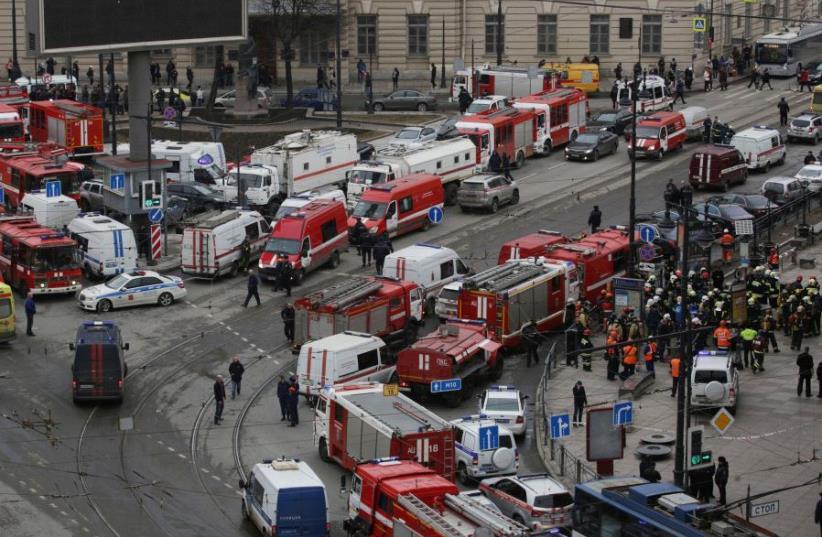 Bomb blast kills 10 in St Petersburg, Russia (photo credit: REUTERS)