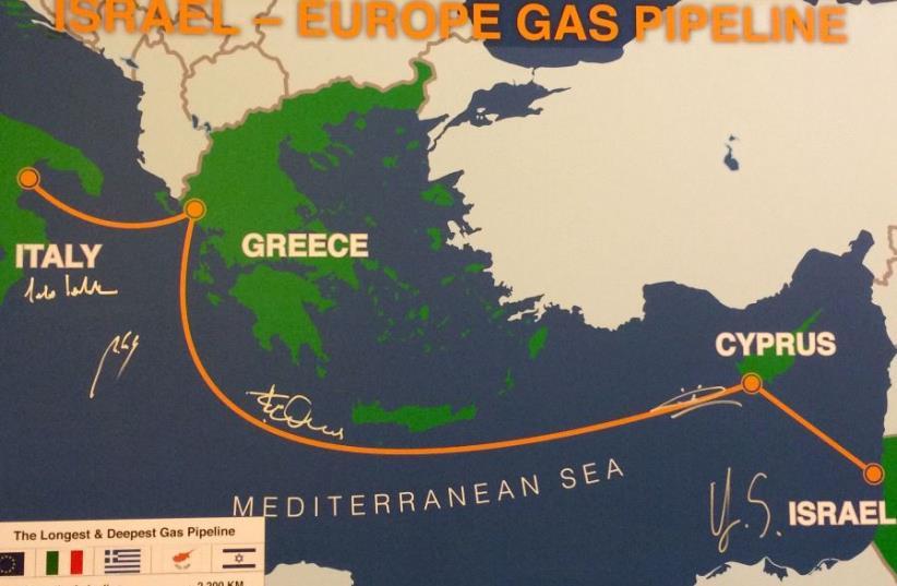 Israel-Europe gas pipeline (photo credit: SHARON UDASIN)