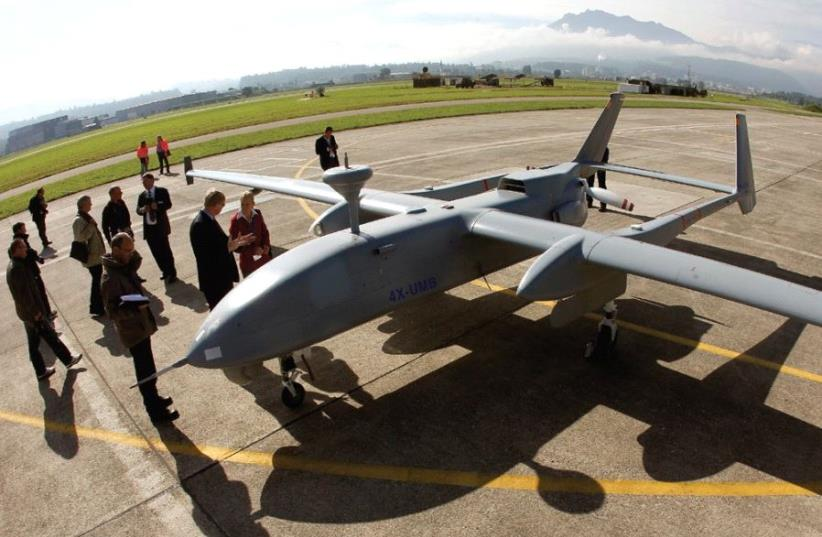 AN IAI HERON stands on the tarmac during a media presentation in Emmen, Switzerland, in 2012 (photo credit: REUTERS)