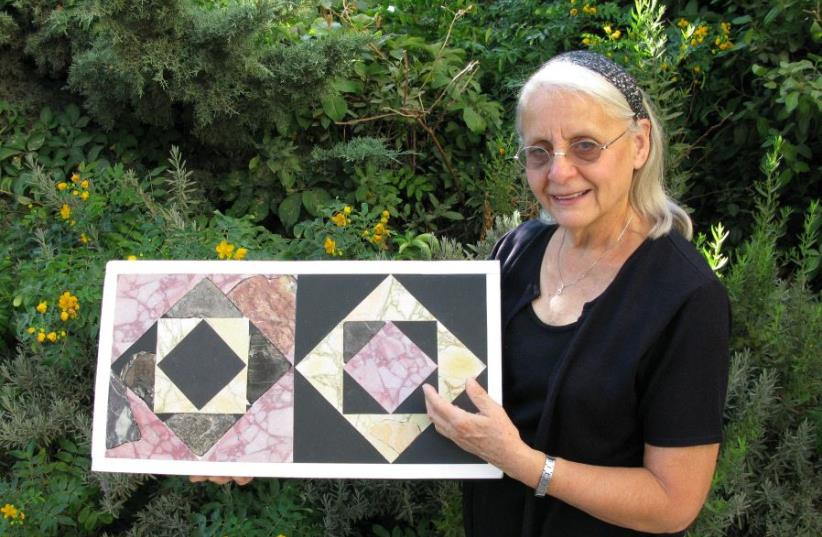Second Temple period Opus Sectile floor tiles were reconstructed through research via the project's finds. (photo credit: COURTESY OF TEMPLE MOUNT SIFTING PROJECT)