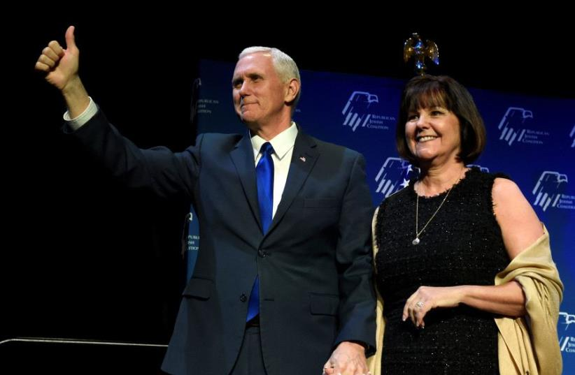 US Vice President Mike Pence, left, and his wife, Karen Pence (photo credit: REUTERS)