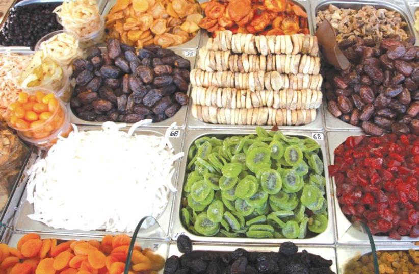 Dried fruits at the Mahane Yehuda shuk (photo credit: MARC ISRAEL SELLEM)