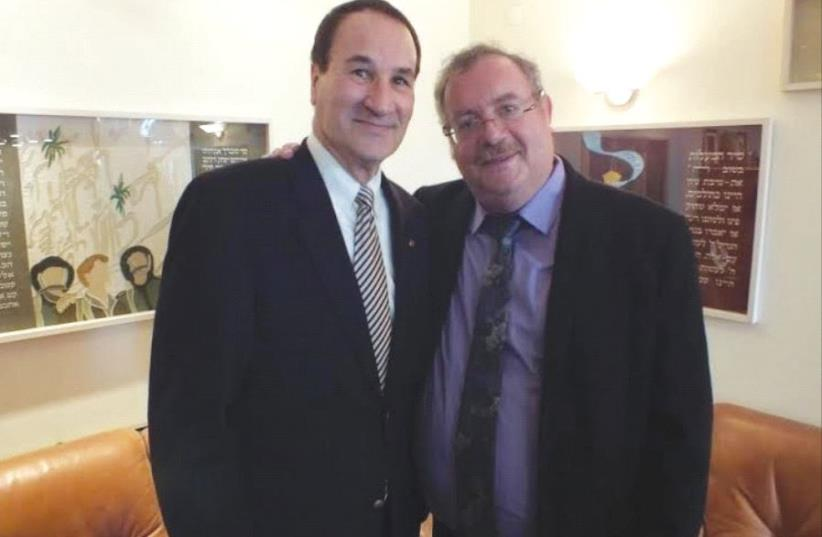 Tal Brody meets with Bar-Ilan University president Prof. Daniel Hershkowitz (photo credit: Courtesy)