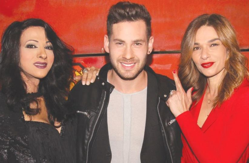 PAST ISRAELI Eurovision contestants Dana International (left) and Orna Datz (right) pose with current contender Imri Ziv (photo credit: OR GHEFEN)
