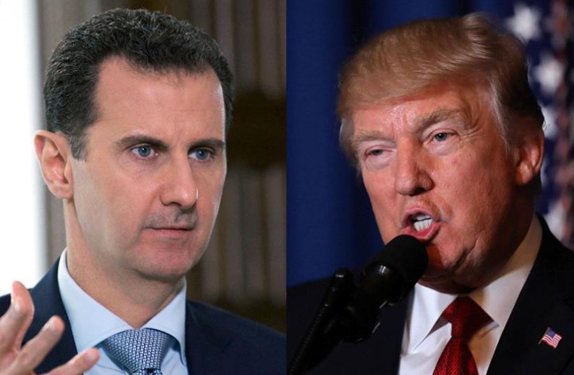 Assad and Trump (photo credit: REUTERS)