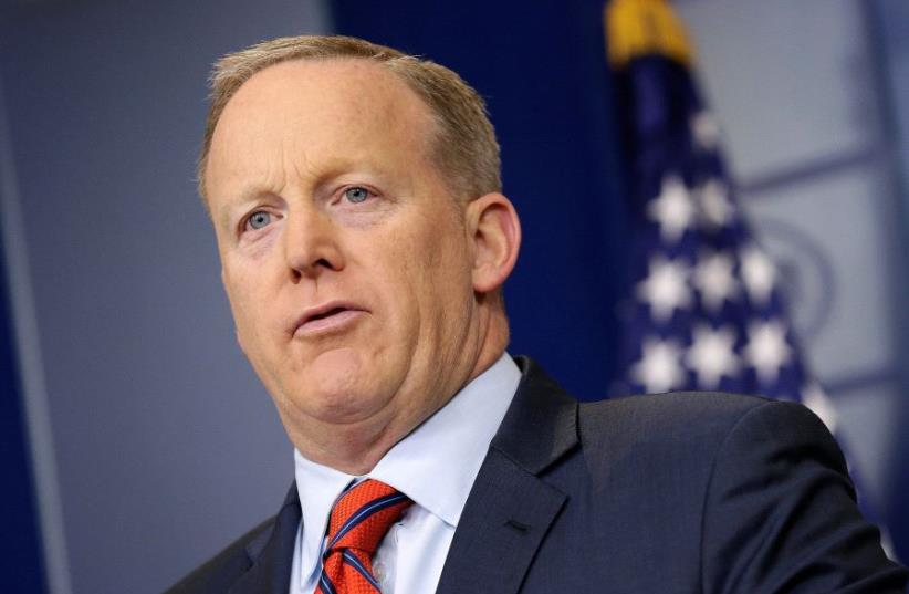 White House Press Secretary Sean Spicer speaks during a press briefing at the White House in Washington, US. (photo credit: REUTERS/JOSHUA ROBERTS)