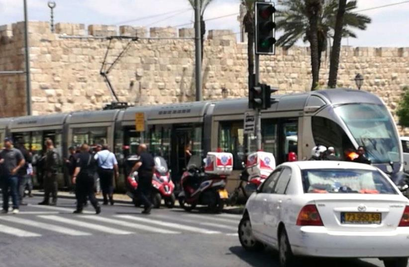 Photo from the scene of terror attack on light rail in Jerusalem (photo credit: COURTESY UNITED HATZALAH)