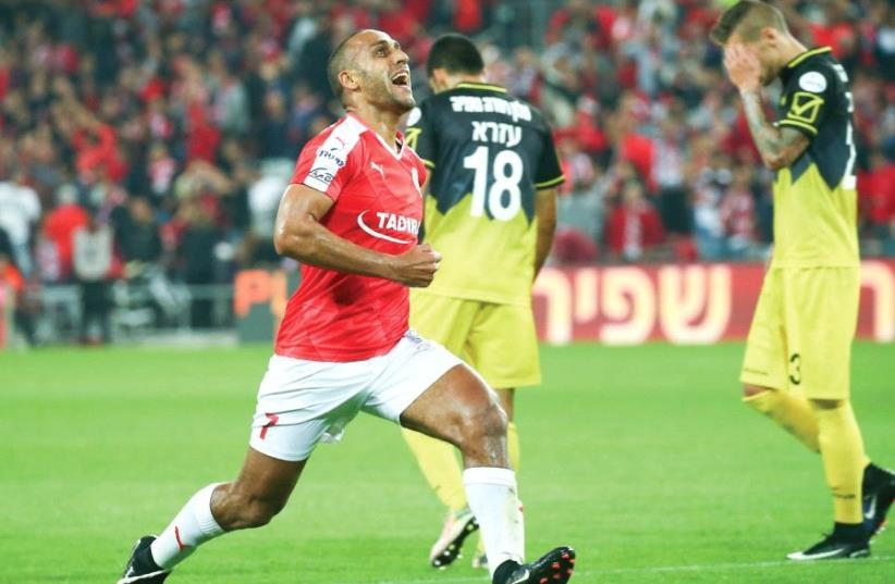 Hapoel Beersheba midfielder Maharan Radi celebrates after scoring the opener in last night's 2-0 win over Beitar Jerusalem at Turner Stadium (photo credit: DANNY MAROM)