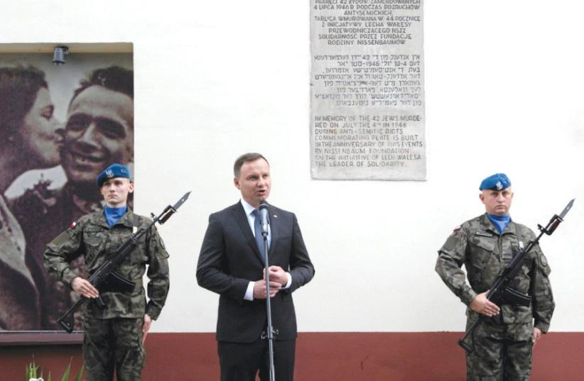 POLAND'S PRESIDENT Andrzej Duda speaks during the ceremony to commemorate the 70th anniversary of the 1946 massacre of Jews in Kielce, Poland last year (photo credit: REUTERS)