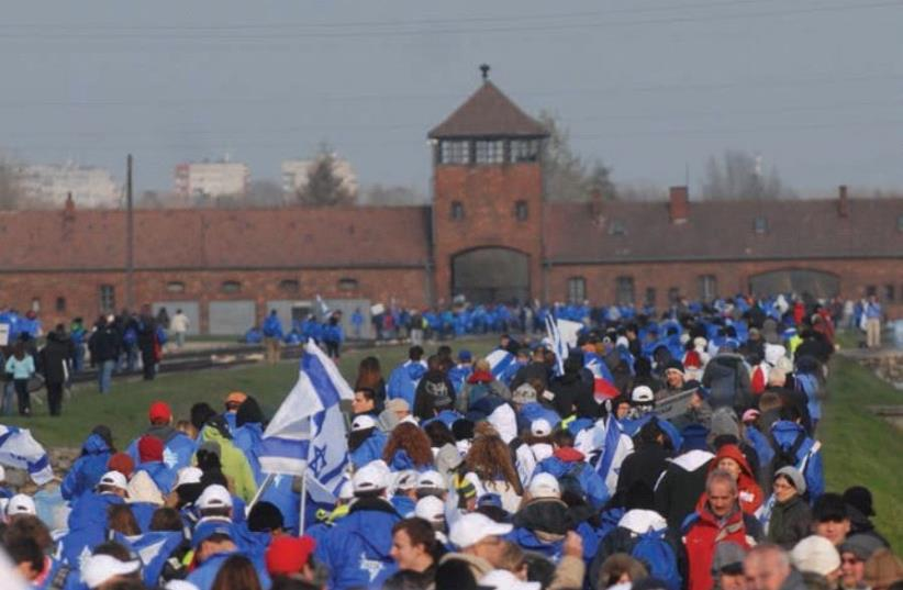 Thousands of March of the Living participants walk toward Birkenau (photo credit: YOSSI ZELIGER)
