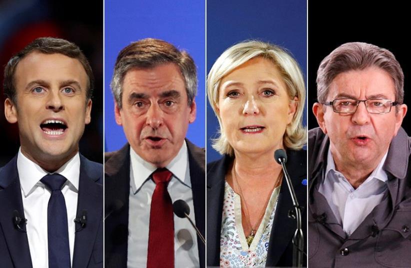 Macron, Fillon, Le Pen and Mélenchon (photo credit: REUTERS)