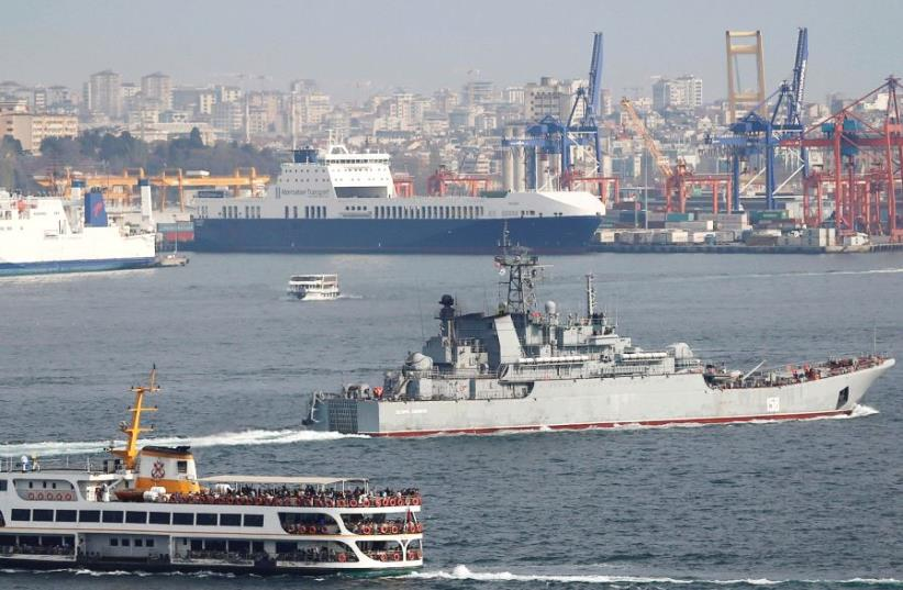 THE RUSSIAN Navy's landing ship 'Caesar Kunikov' sails in the Bosphorus near Istanbul earlier this month on its way to the Mediterranean Sea. (photo credit: REUTERS)