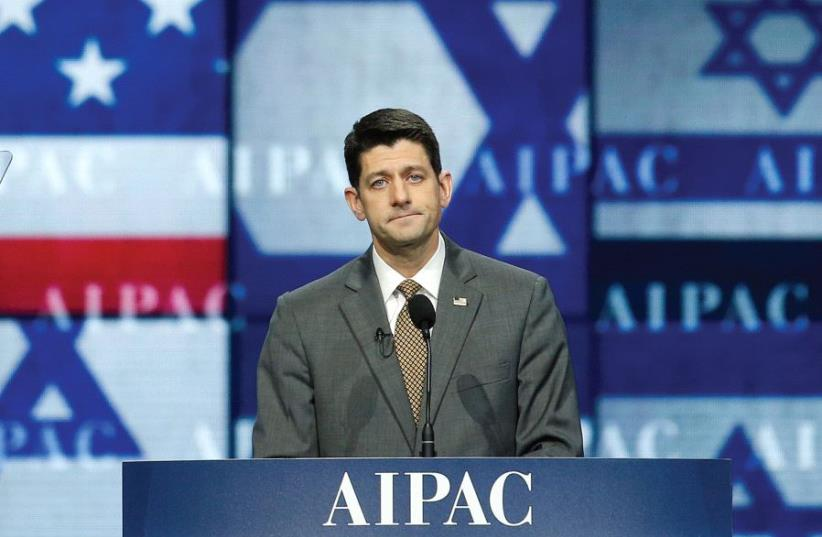 Speaker of the House Paul Ryan (R-WI) speaks at the AIPAC policy conference in Washington in March (photo credit: REUTERS)