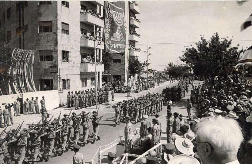 A military parade takes to the streets on Independence Day, 1950 (photo credit: THE JERUSALEM POST/HIRSHBAIN)