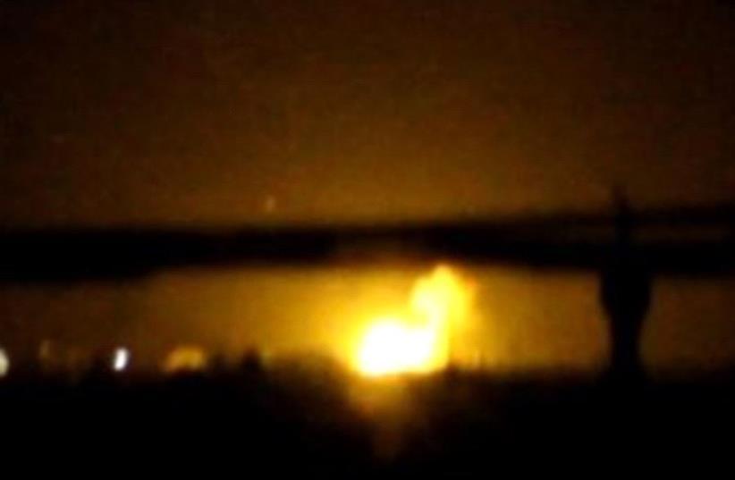 Explosion in Syria  (photo credit: ARAB MEDIA)
