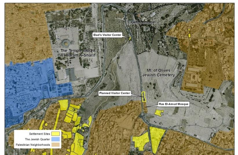 A map of the planned Mount of Olives visitors center.   (photo credit: JERUSALEM DEVELOPMENT AUTHORITY)