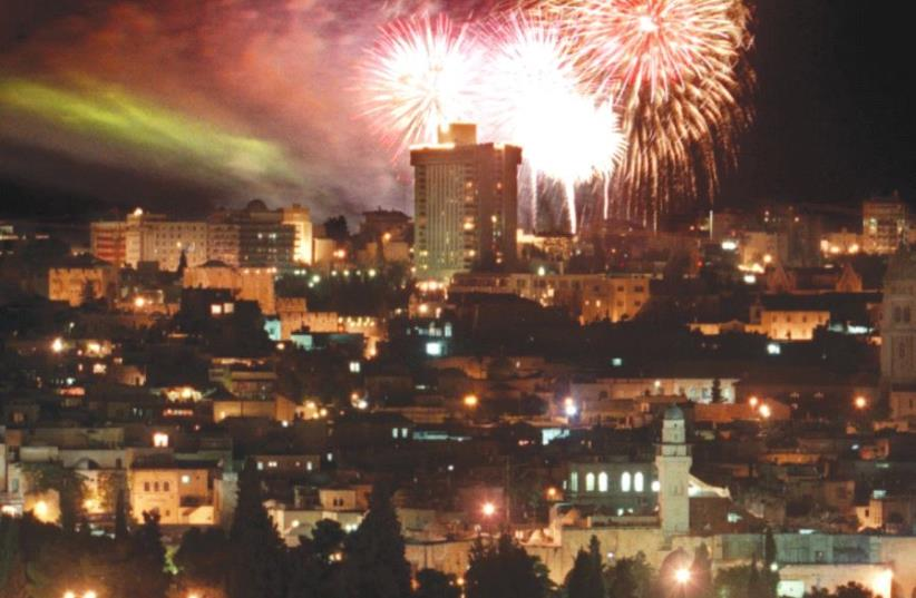 Fireworks explode over Jerusalem at the close of the Israel's 50th anniversary gala show on Independence Day in 1998 (photo credit: REUTERS)