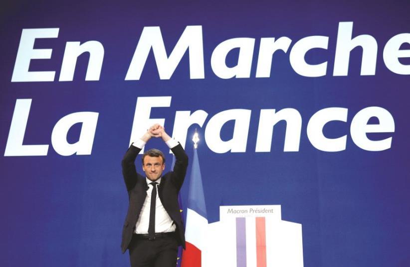 Le candidat d'en Marche, Emmanuel Macron (photo credit: REUTERS)
