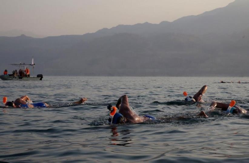 Oded Rahav  at the November 15 Dead Sea swim (photo credit: GALI TIBBON)