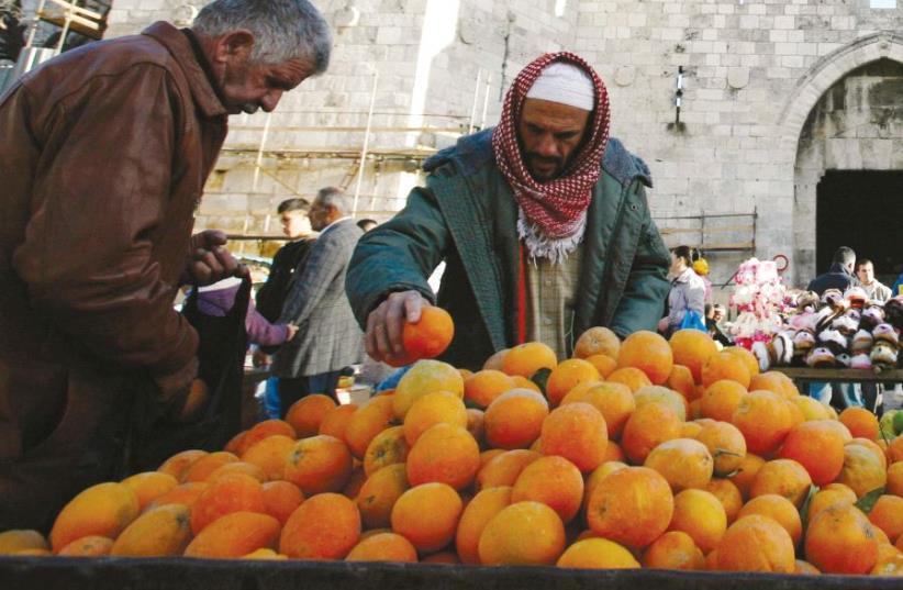 Fruits and vegtables in a Jerusalem market (photo credit: REUTERS)