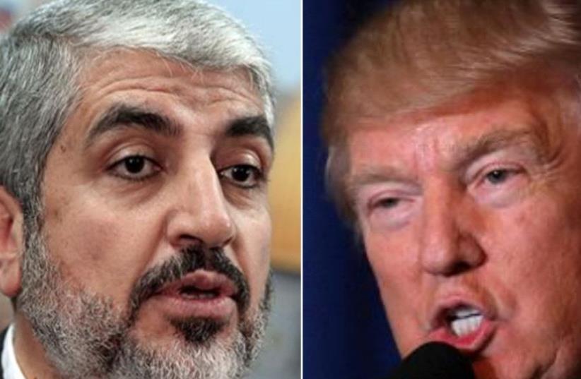 Hamas leader Khaled Meshaal and US President Donald Trump (photo credit: REUTERS)