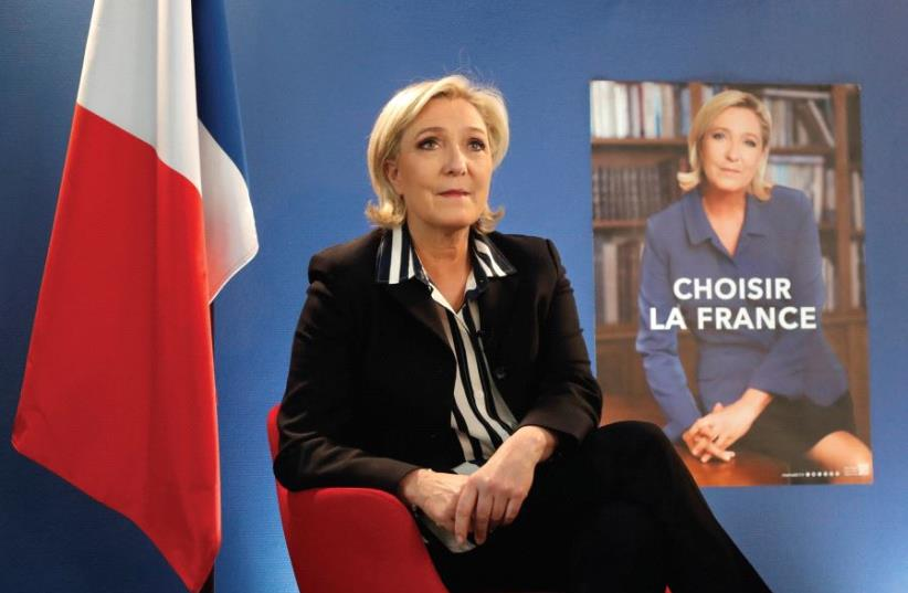 MARINE LE PEN, French National Front (FN) candidate for the 2017 presidential election, speaks during an interview over the weekend (photo credit: REUTERS)