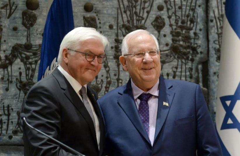 German President Frank-Walter Steinmeier meeting with Israeli President Reuven Rivlin (photo credit: Mark Neiman/GPO)