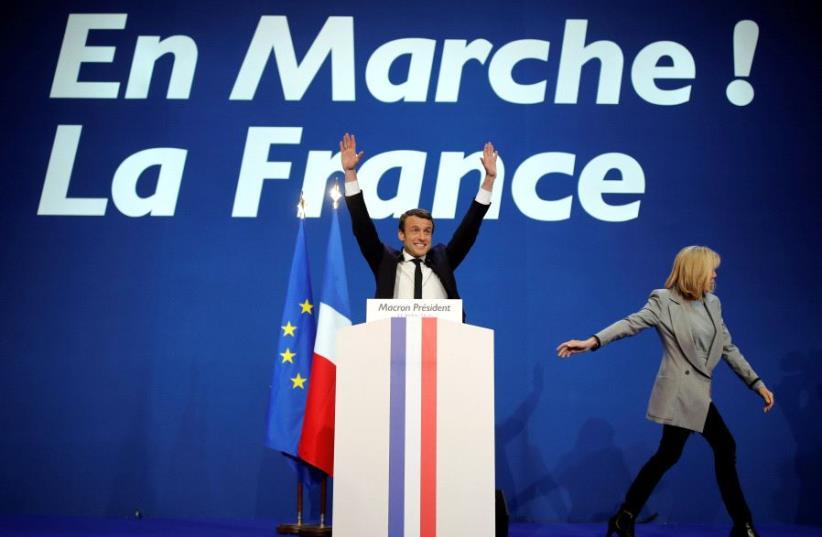 French President Emmanuel Macron, head of the political movement En Marche! (photo credit: REUTERS)