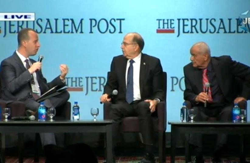 Lt. Gen. (res.) Moshe (Bogie) Ya'alon & Lt. Gen. (ret.) Dani Haloutz at the 2017 JPost Annual Conference (photo credit: screenshot)